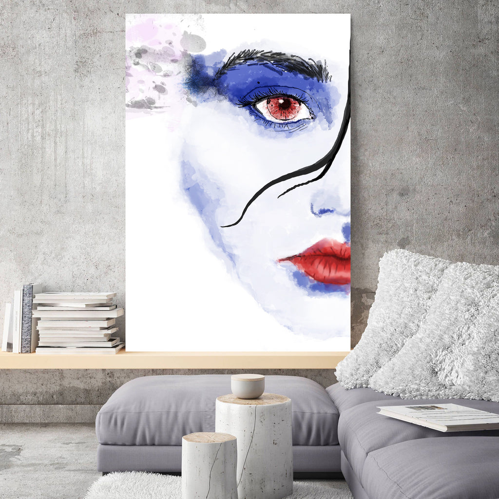 Watercolor Woman Portrait – Reproduction on metal