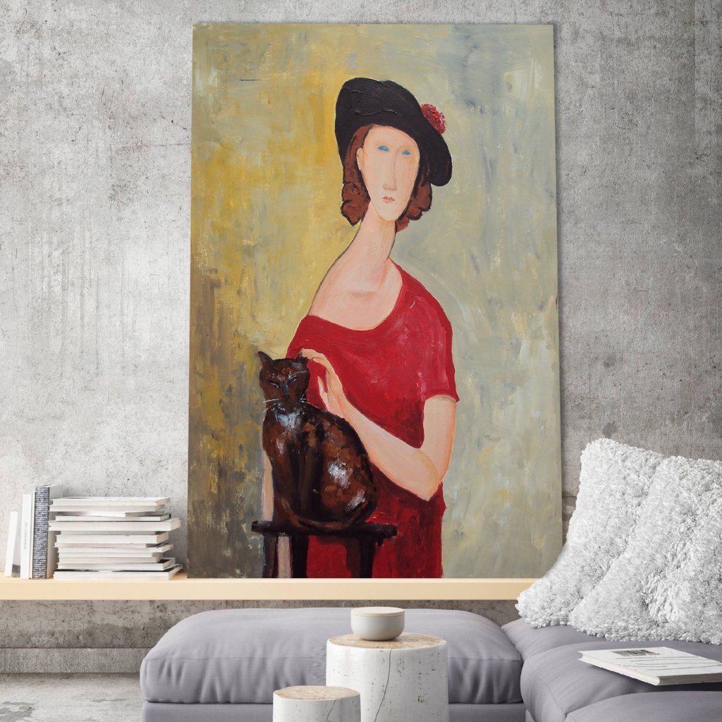 Amedeo Modigliani Woman with Cat – Reproduction on Metal