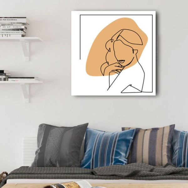 Portrait of Woman, One Line Drawing, Extra Large Digital Metal Art Print