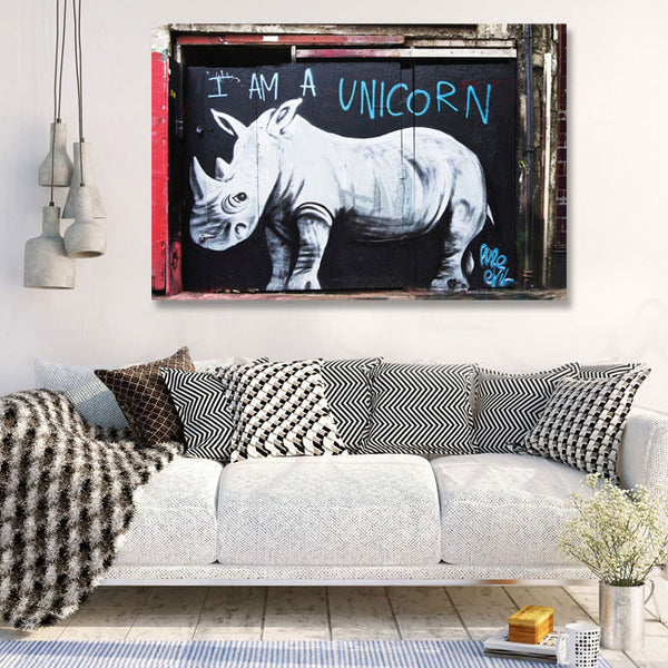 Rhinoceros, Graffiti Street Art – Extra Large Wall Metal Art Print – Limited Edition