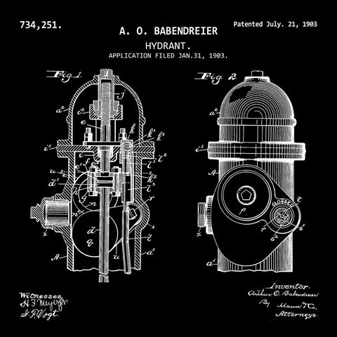 FIRE HYDRANT  (1903, A. O. BABENDREIER) Patent Print