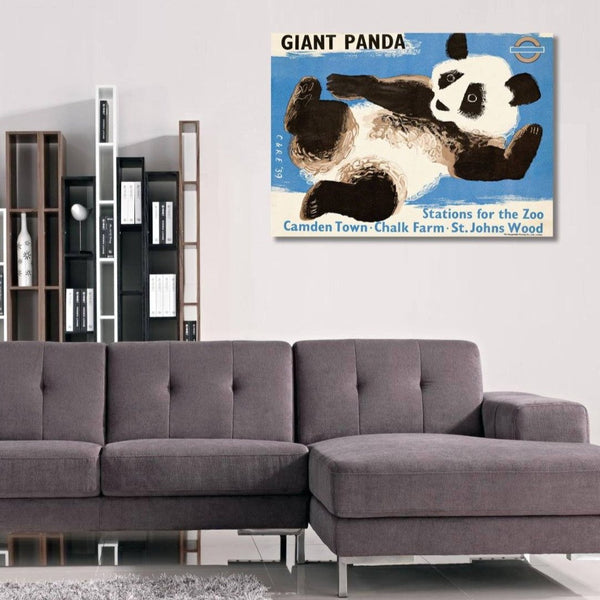 Giant Panda ZOO, Vintage London Underground Metal Poster
