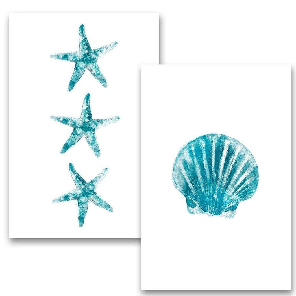 Ocean Starfish and Seashell, Watercolor Art - Metal Poster