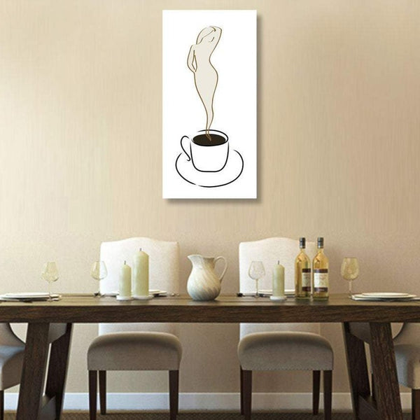 Coffee Cup with Woman Silhouette Metal Print