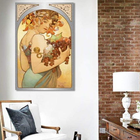 Alfons Mucha Fruit / Extra Large Modern Wall Metal Art Print / Masterpiece / Woman portrait / Reproduction Print on Metal – Home Office Art