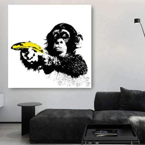 Monkey with Banana, Graffiti – Metal Art Print
