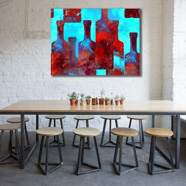 Multi-color Bottles - Metal Art Print