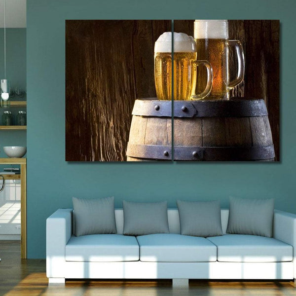 Mugs of Beer, Modern Photography - Extra Large Metal Art