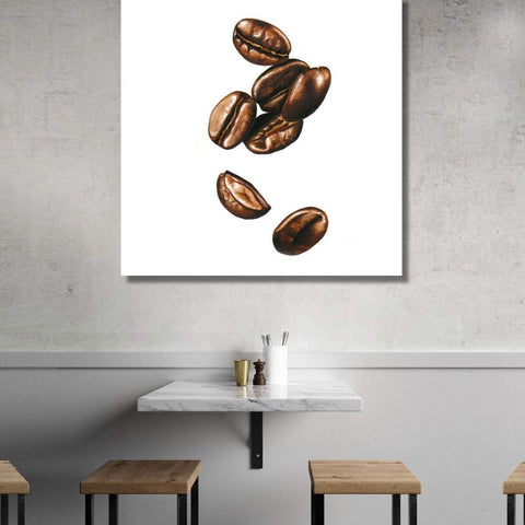 Extra Large Oversize Wall Metal Art Print Coffee Beans Painting White Background, Modern Kitchen Dining room Cafe Wall Art