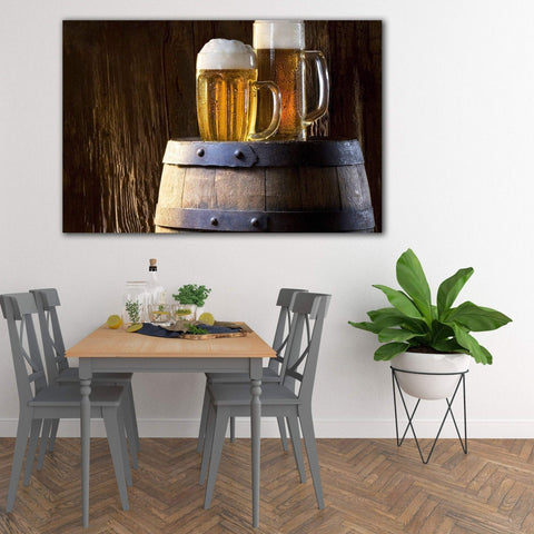 Extra Large Kitchen Wall Metal Art Print, Mugs of Beer Art Food Drink, Modern Photography Art for Restaurant Cafe