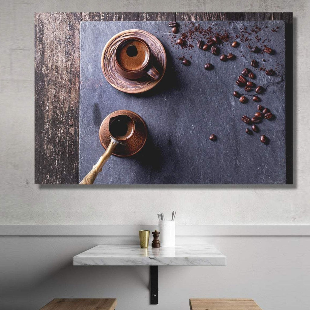 Coffee Beans with Cup Composition, Extra Large Modern Wall Metal Art, Kitchen Cafe Restaurant Dining room Wall Art, Grunge style art