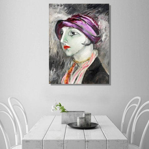 The Violet Hat – Woman Portrait, Reproduction on Metal
