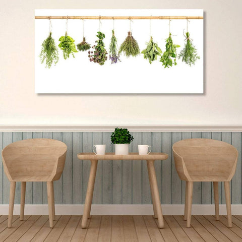Kitchen Herbs on White Background - Metal Art Print