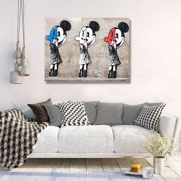 Three Girls with Mickey Mouse, Graffiti not Banksy
