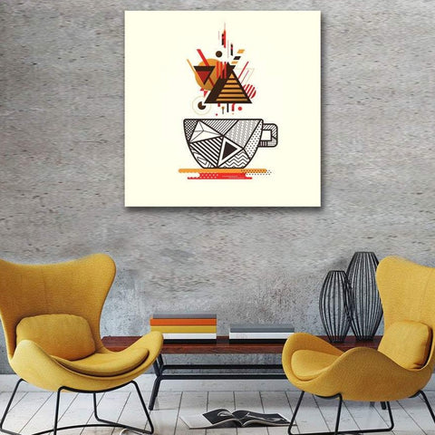 Geometric Style Coffee Cup - Metal Art Print