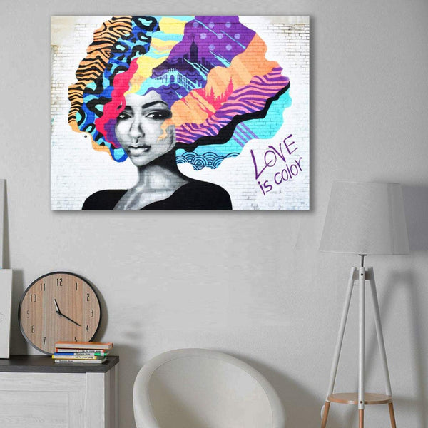 Woman Portrait Love is color, Graffiti – Metal Poster