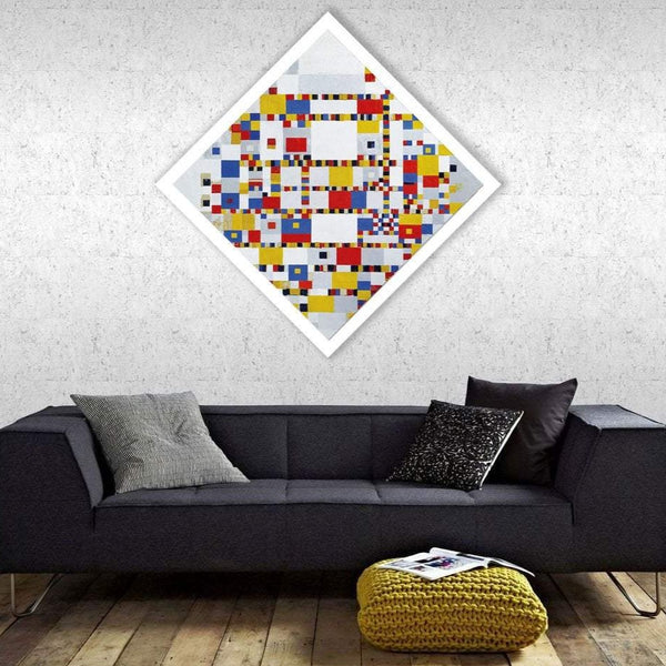 Victory Boogie Woogie, Large Rhombus Wall Art, Reproduction on Metal