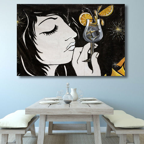 Cocktail Girl, Street Art Graffiti - Metal Poster