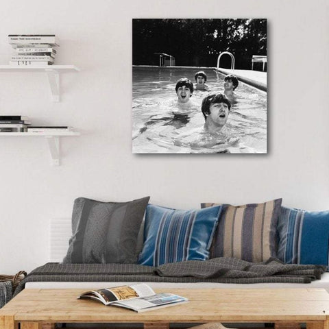 The Beatles in The Pool, Photo on Metal