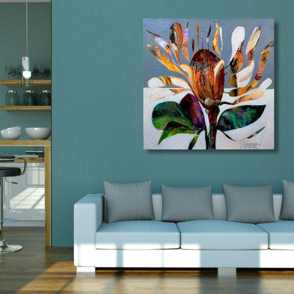Flower J, Abstract Contemporary Art - Reproduction on Metal