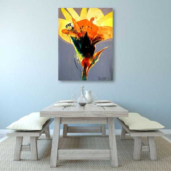 Flower, Abstract Contemporary Art - Reproduction on Metal