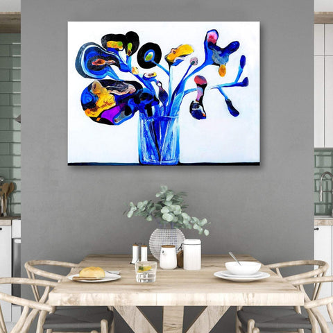 Blue Flowers, Abstract Contemporary Art - Reproduction on Metal