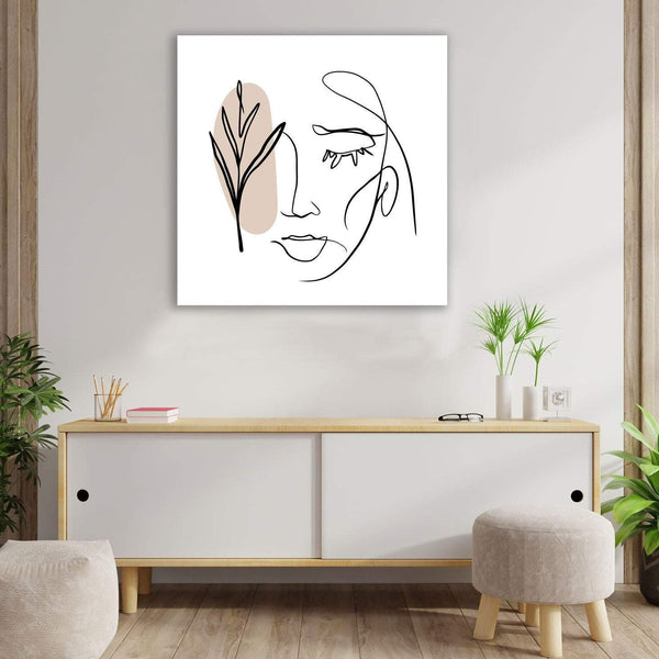 One Line Abstract Woman Portrait, Digital Art - Metal Print