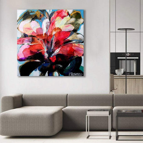 Flower U, Abstract Contemporary Art - Reproduction on Metal