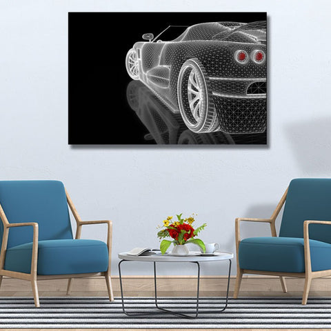 Car Sketch, Digital Art – Metal Poster