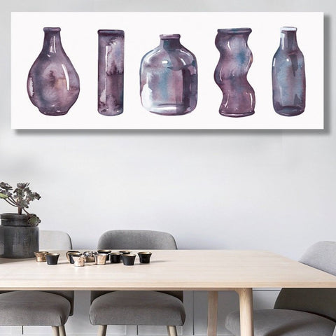 Watercolor Bottles Composition, Digital Art – Metal Print