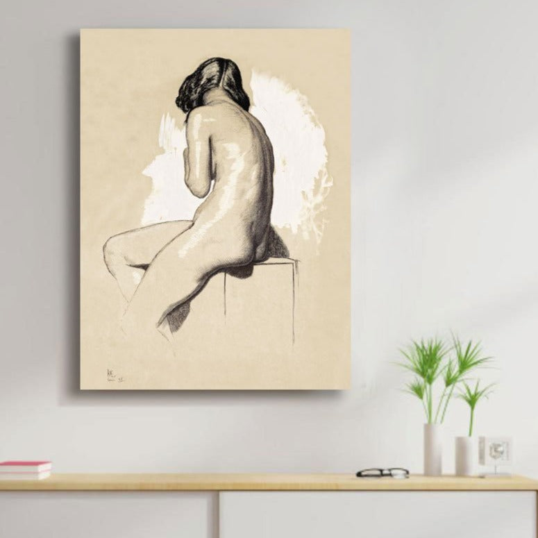 Nude Study from behind – Reproduction printed on metal
