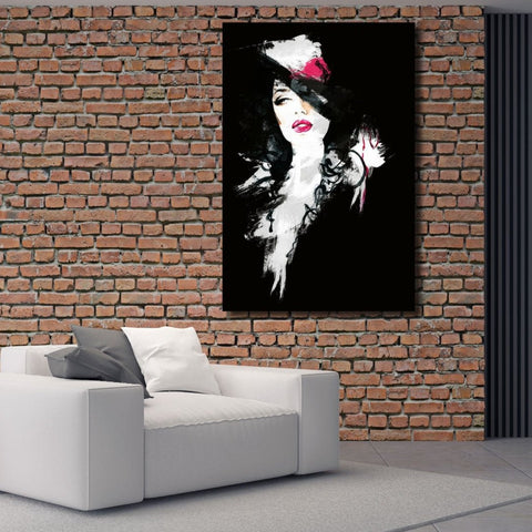 Woman Portrait in Black – Metal Art