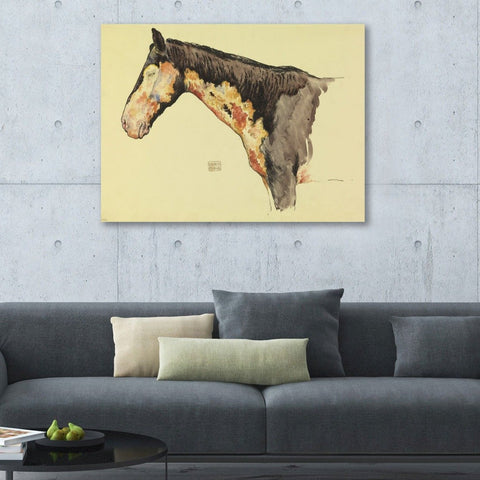 Horse Sketch with Effect of Mustard Gas – Reproduction on Metal
