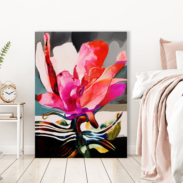 Flower E, Abstract Contemporary Art - Reproduction on Metal