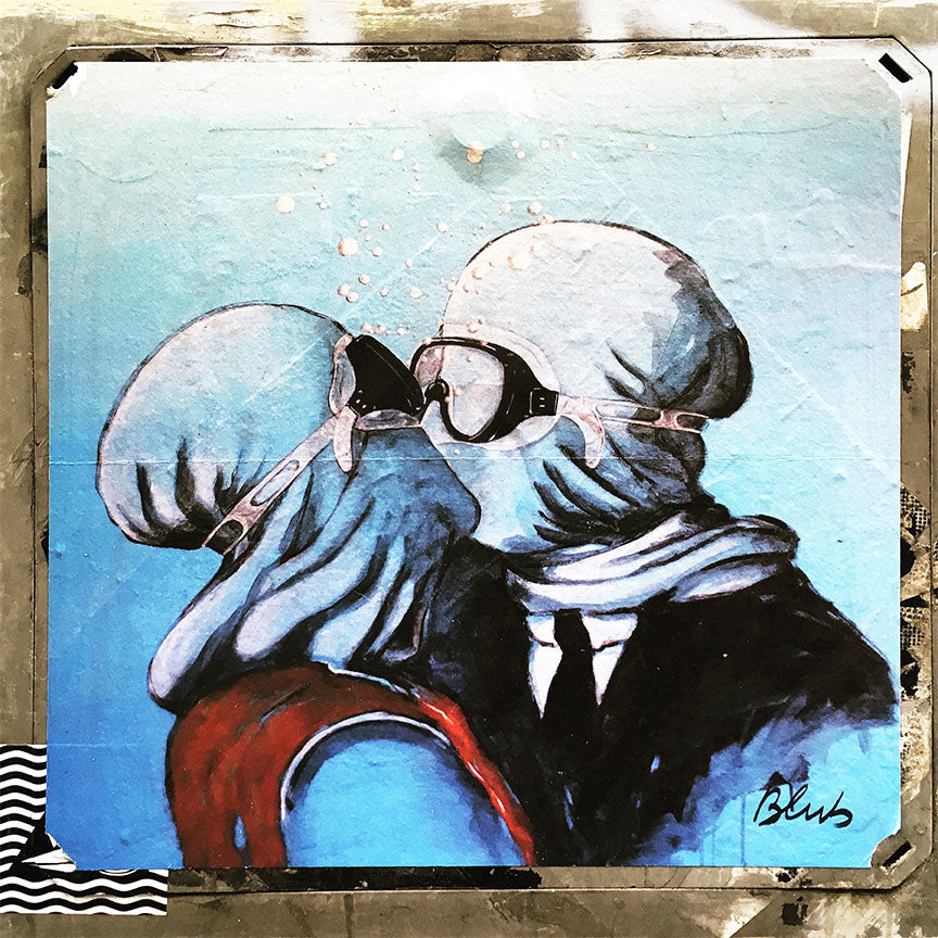 Kissing couple in goggles Graffiti Street Art (Italy) – Print on Metal – Limited edition