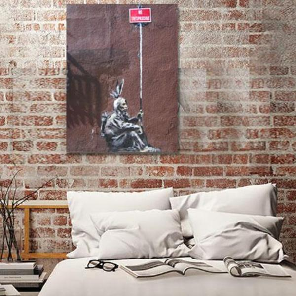 Banksy No tresspassing Indians, Graffiti Street Art – Print on Metal (Dibond)