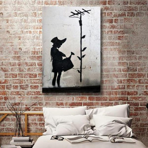 Banksy Girl with Watering Can, Graffiti Street Art