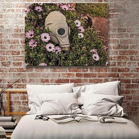 Gas mask and Flowers – Photo on Metal