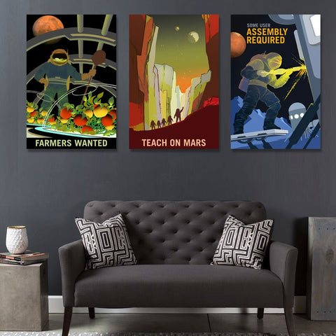 NASA Mars Recruitment Posters Printed on Metal