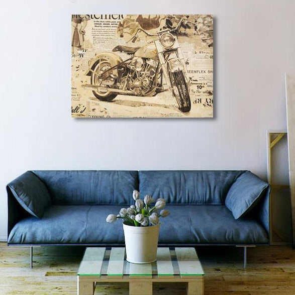Harley Davidson Panhead Antique Motorcycle – Large Metal Poster