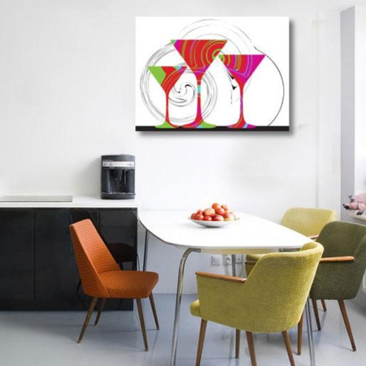 Colorful Wine Glasses – Digital Art on Metal