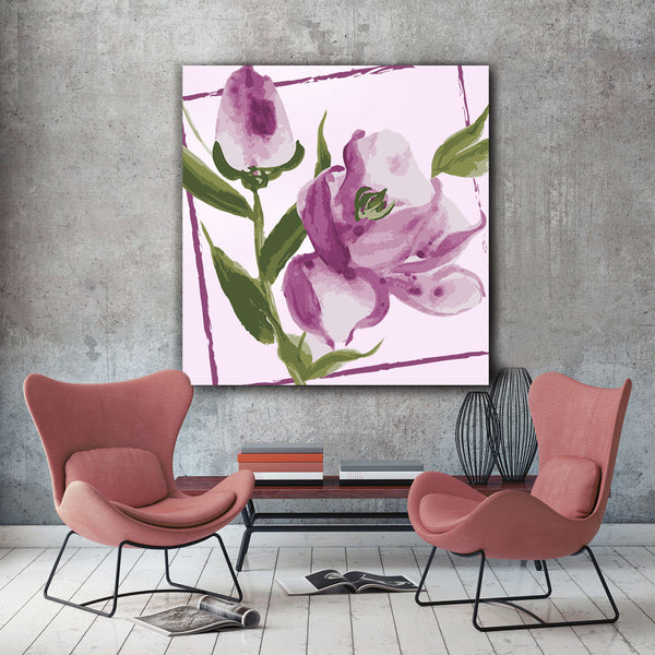 Watercolor Hand-drawn Flowers  – Modern Digital Art – Extra Large Print