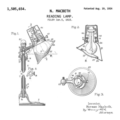READING LAMP  (1923, N. MACBETH) Patent Print