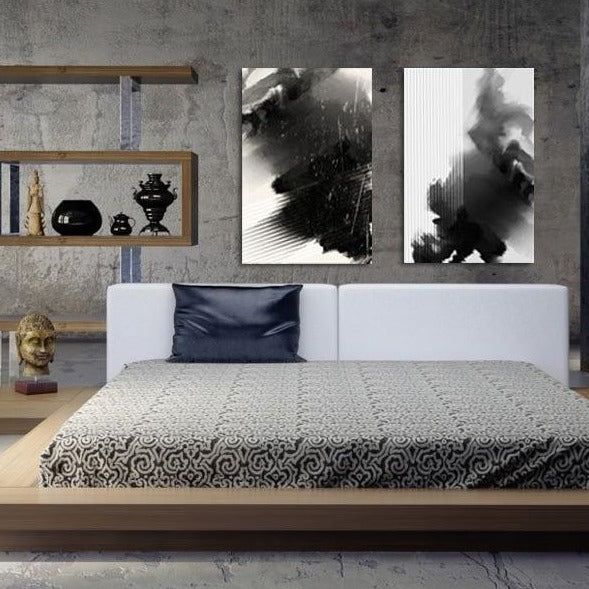 Minimalism Black & White Abstraction, Extra Large Digital Metal Art Print
