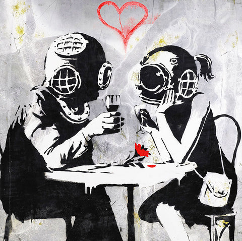 Banksy Late lovers – Graffiti Street Art, Print on metal (Dibond)