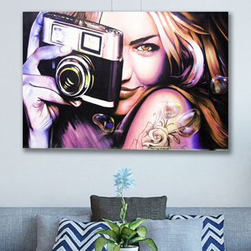 Girl with Camera – Graffiti Street Art Printed on Metal