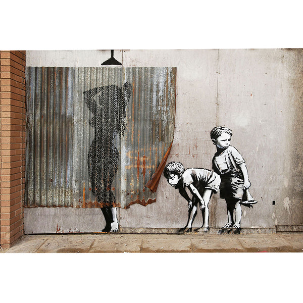 Banksy, Shower Lady – Graffiti Street Art