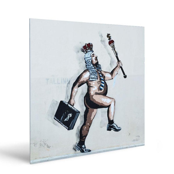 Naked Emperor by E. Lõngus – Graffiti Street Art Print on Metal