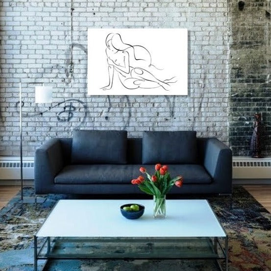 Hand-drawn Sexy Woman – Extra Large Digital Art on Metal
