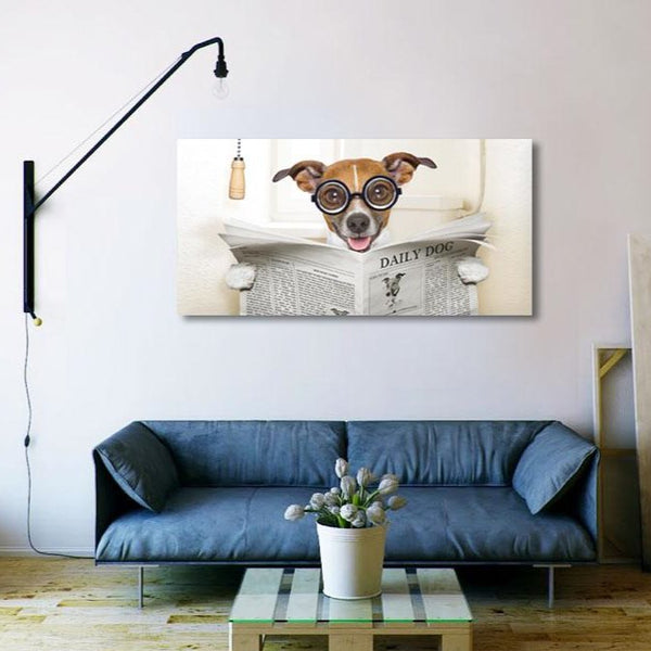 Dog With Newspaper – Large Photo on metal